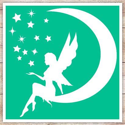 Трафарет Ангел на Луне
