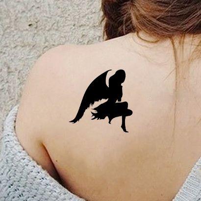 Многоразовый трафарет Девушка Ангел 770-08-047 на теле