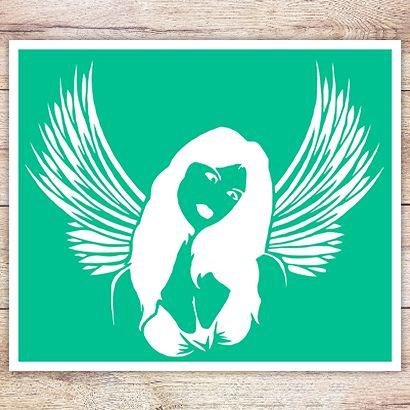Трафарет Распахнутые крылья ангела