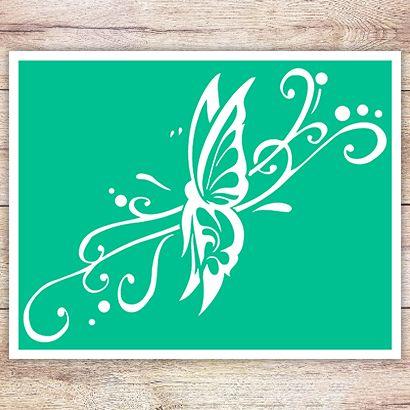 Трафарет Бабочка на стебле