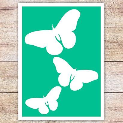 Трафарет Три бабочки