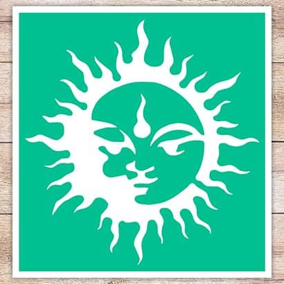 Трафарет Будда на солнце