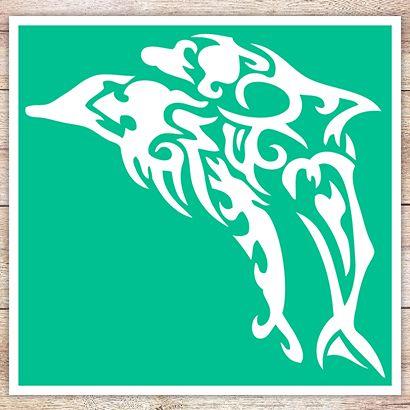 Трафарет Два дельфина