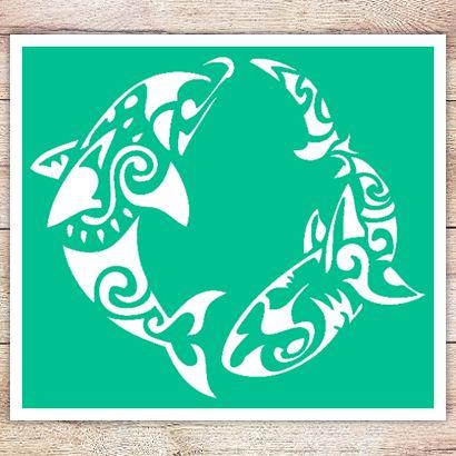 Трафарет Дельфин в стиле маори