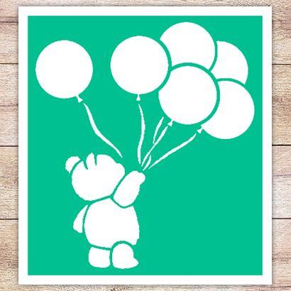 Трафарет Винни Пух с шариками