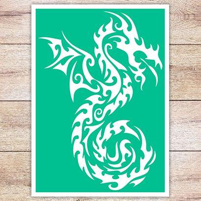 Трафарет Огненный дракон
