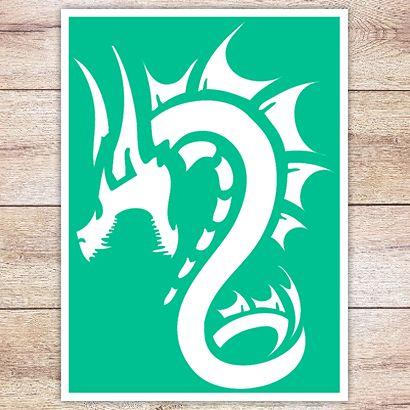 Трафарет Разъярённый дракон