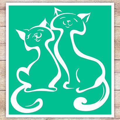 Трафарет Два котёнка