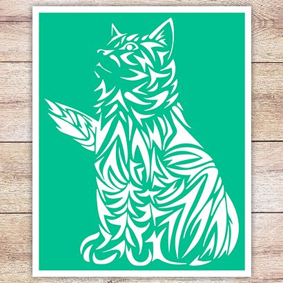 Трафарет Кельтская кошка