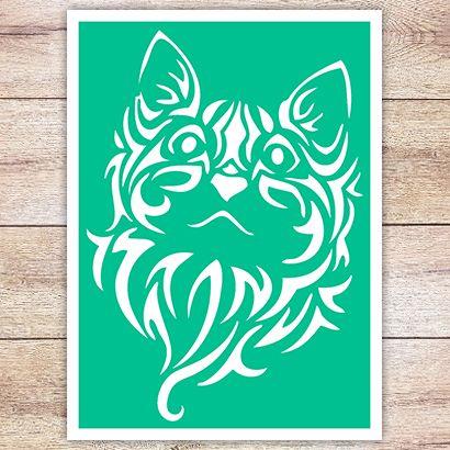 Трафарет Кошка в кельтском стиле