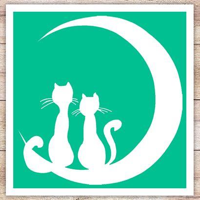 Трафарет Котята на Луне