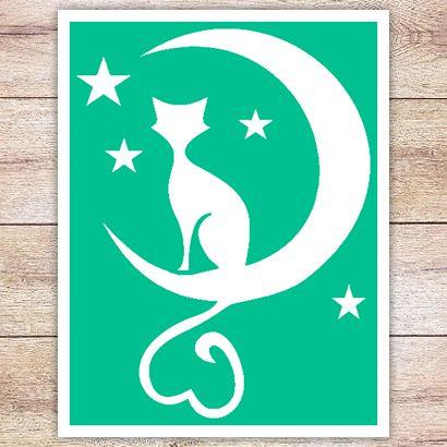 Трафарет Кот и звёзды