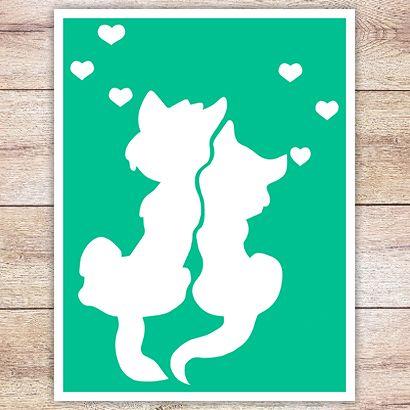 Трафарет Влюблённые коты