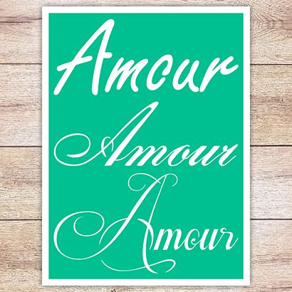 Трафарет Надпись Amour 3 вариации