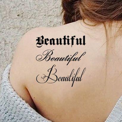 Многоразовый трафарет Надпись Beautiful 092-12-926 на теле