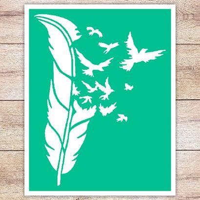 Трафарет Перо из разлетающихся птиц