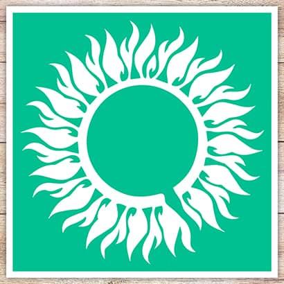 Трафарет Пламенное солнце