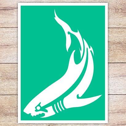 Трафарет Классическая акула