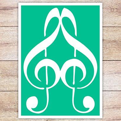 Трафарет Сердце из скрипичных  ключей