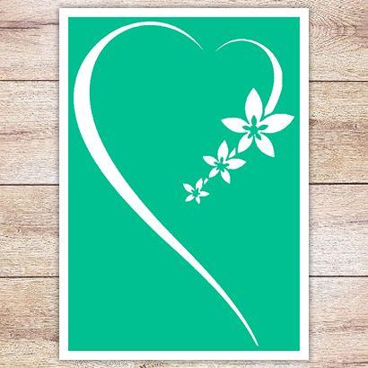 Трафарет Сердце и цветы