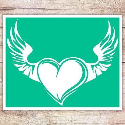 Трафарет Сердце-крылья ангела