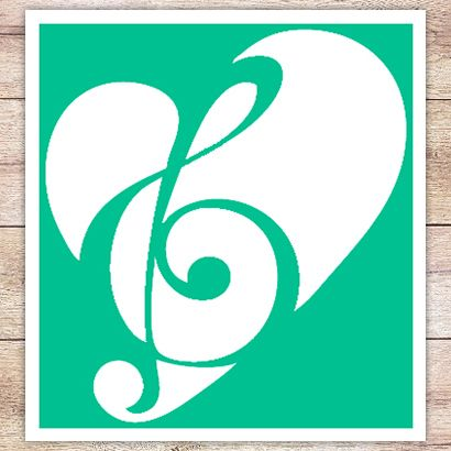 Трафарет Сердце и скрипичный ключ