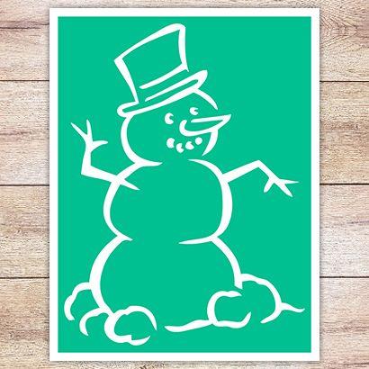Трафарет Снеговик в шляпе