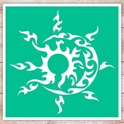 Трафарет Солнце и месяц