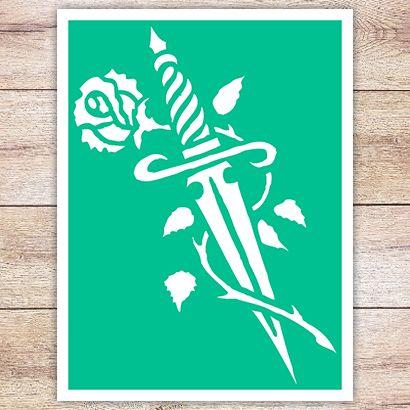 Трафарет Меч и роза