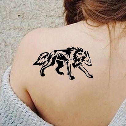 Многоразовый трафарет Крадущийся волк 551-03-286 на теле