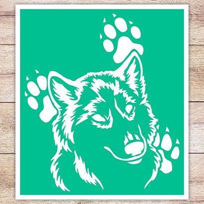Трафарет Волк и следы