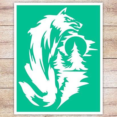 Трафарет Волк в тайге