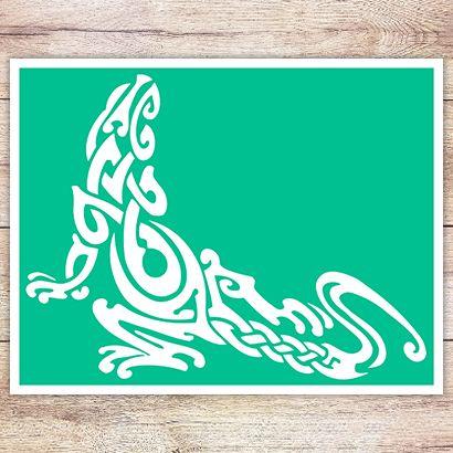 Трафарет Ящерица в кельтском стиле